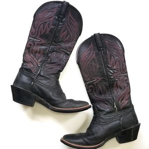 Ariat Womens roundup up buckaroo black deer boots